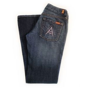 7FAMK | 'A' Pocket Pink Sequined Flare Jeans